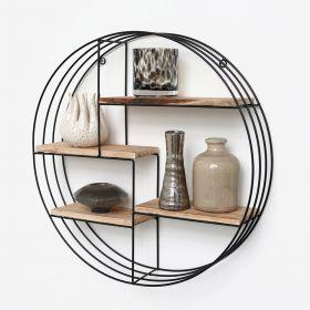 Mensola in metallo nero con 4 tavole in legno - Mensola a cerchio -  50x11 cm