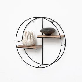 Mensola in metallo nero con 2 tavole in legno - Mensola a cerchio -  37x10 cm