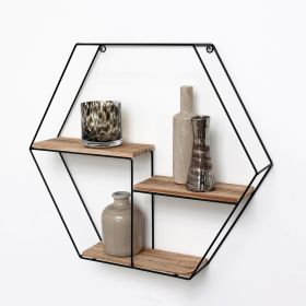 Mensola in metallo nero con 3 tavole in legno - Mensola esagonale - 48x55x10 cm