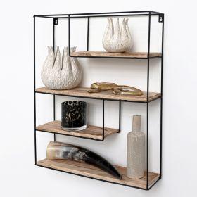 Mensola in metallo nero con 4  tavole in legno - Mensola rettangolare - 55x45x11 cm